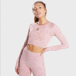 Gymshark long sleeve crop top with keyhole